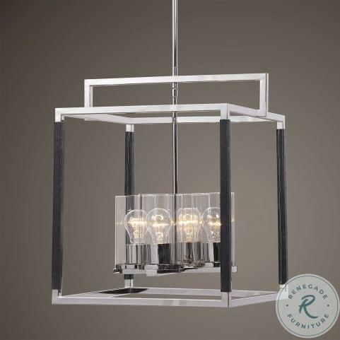 Newburgh Polished Nickel 4 Light Lantern Pendant