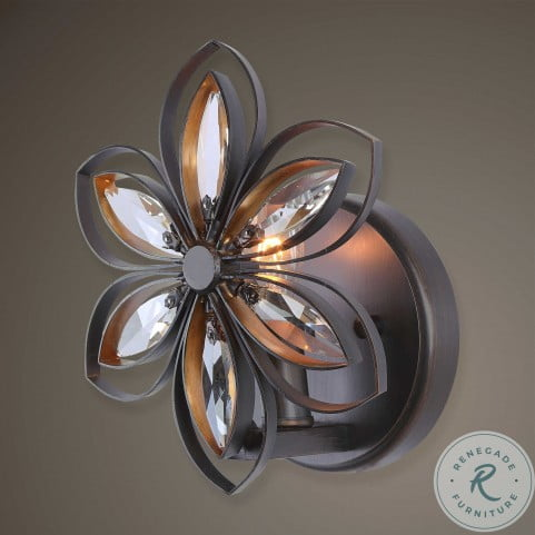 Posey Bronze And Antique Gold 1 Light Floral Sconce