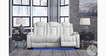 Party Time White Power Reclining Sofa With Power Headrest