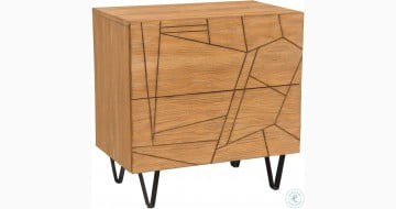 Trapezoid Cerused Wheat 2 Drawer Nightstand