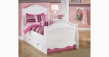 Exquisite White Youth Panel  Double Storage Bed
