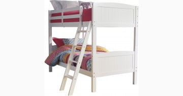 Kaslyn White Twin Over Twin Bunk Bed