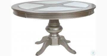 Regency Park Pearlized Platinum Round Dining Table