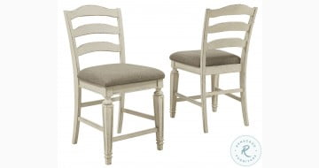 Realyn Chipped White Counter Height Bar Stool Set Of 2