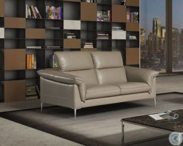 Eden Taupe Leather Loveseat
