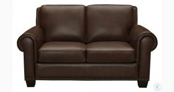 Roselake Brown Leather Loveseat