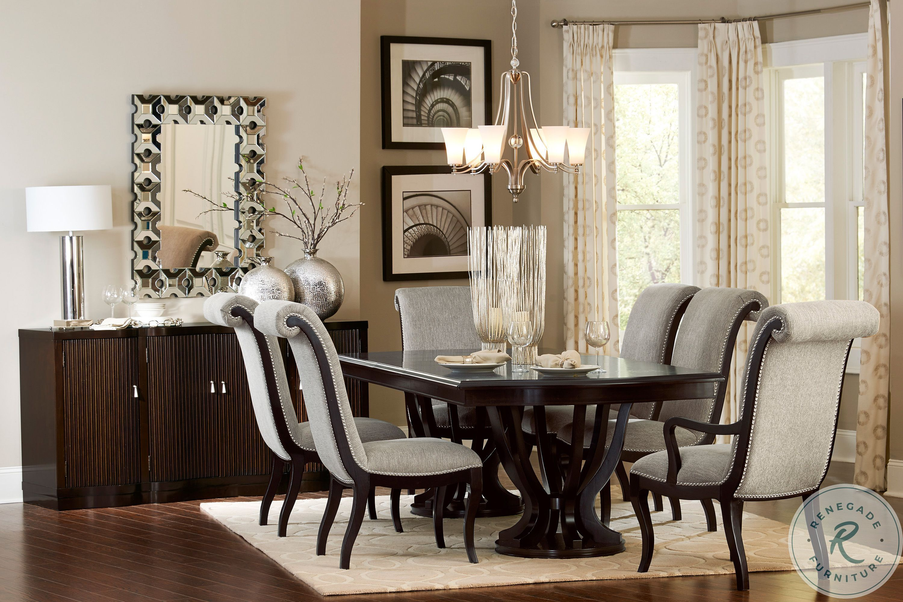 Savion Espresso Natural Tone Extendable, Dining Room Sets With Expandable Table