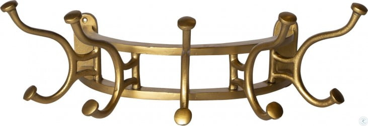 Starling Antique Brass Wall Mounted Coat Rack