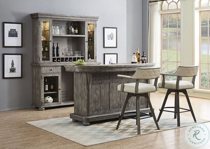 PGA Distressed Gray Deluxe Back Bar With Hutch
