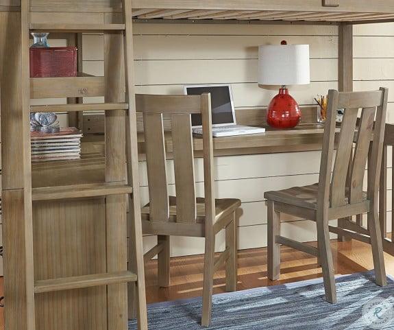 Highlands Driftwood Full Loft Bed with Desk