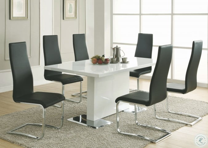 Anges Glossy White Dining Room Set