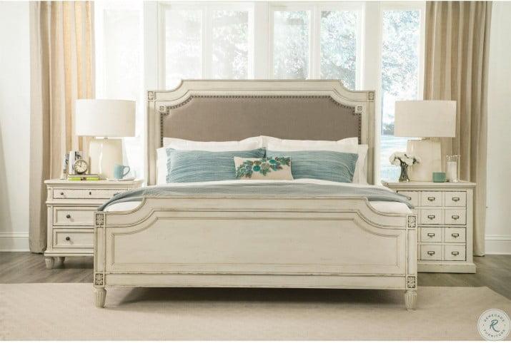 Huntleigh Vintage White Carved Upholstered Bedroom Set