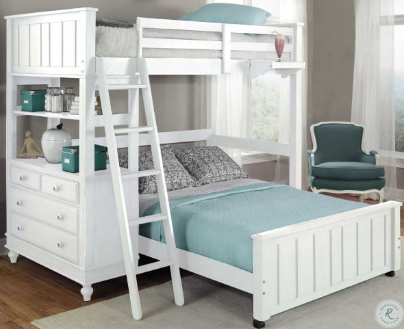 Lake House White Twin Loft Bed with Full Lower Bed