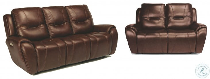 Trip Brown Leather Power Reclining Loveseat With Power Headrests