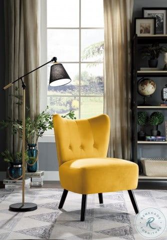 Imani Yellow Velvet Accent Chair