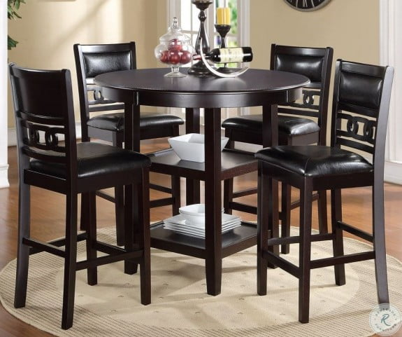 Gia Ebony 5 Piece Counter Height Dining Table Set