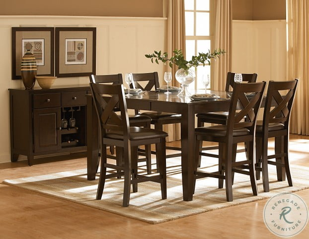 Crown Point Warm Merlot Counter Height Extendable Dining Table