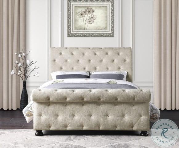 Crofton Beige Full Upholstered Panel Bed