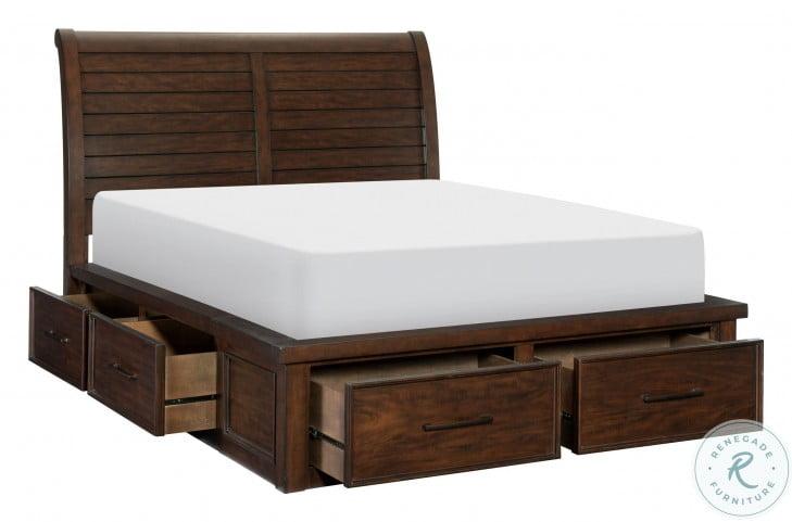 Logandale Brown King Storage Platform Bed