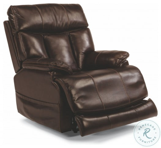 Clive Brown Leather Power Recliner With Power Headrest