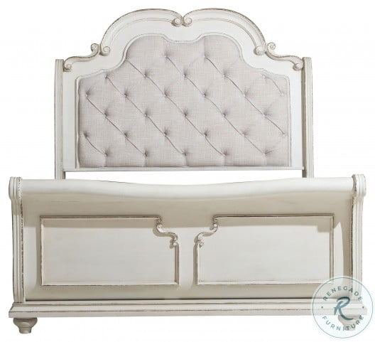 Willowick Antique White King Upholstered Sleigh Bed
