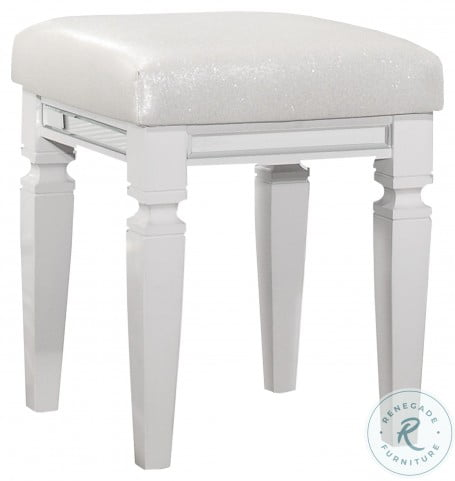Tamsin White Metallic Vanity Stool