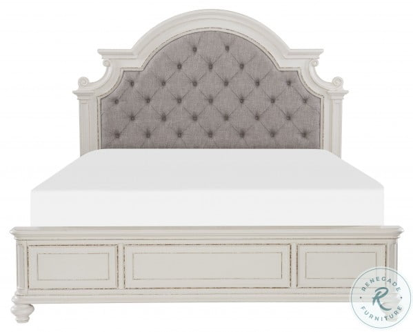 Baylesford Antique White Queen Upholstered Panel Bed