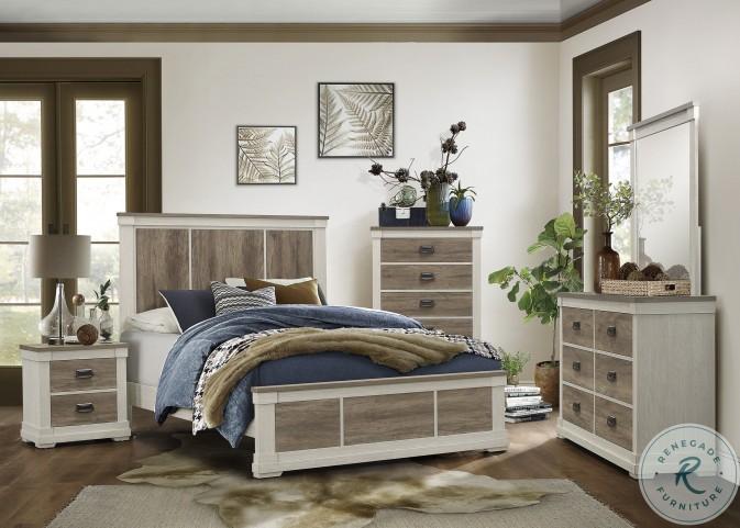 Arcadia White And Weathered Gray Panel Bedroom Set