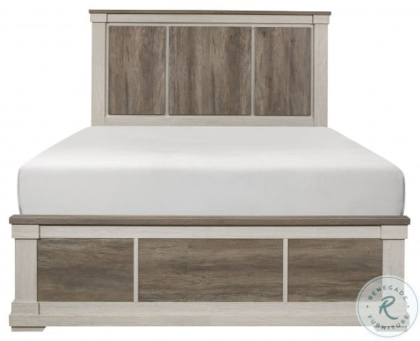 Arcadia White And Weathered Gray Queen Panel Bed