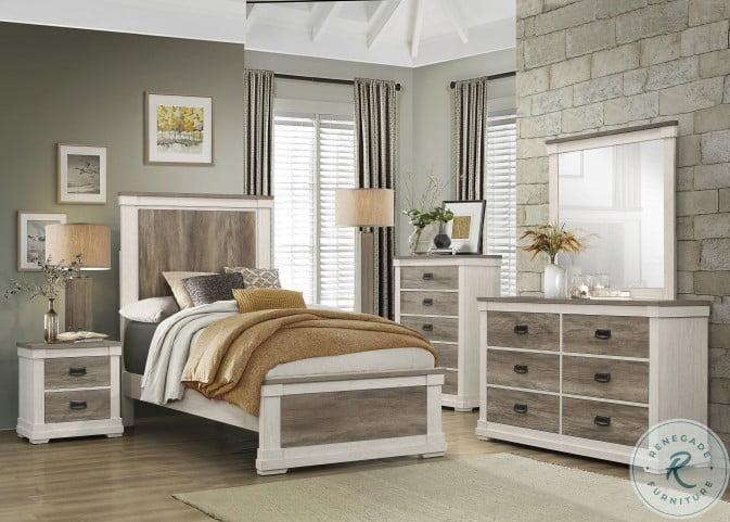 Arcadia White And Weathered Gray Youth Panel Bedroom Set