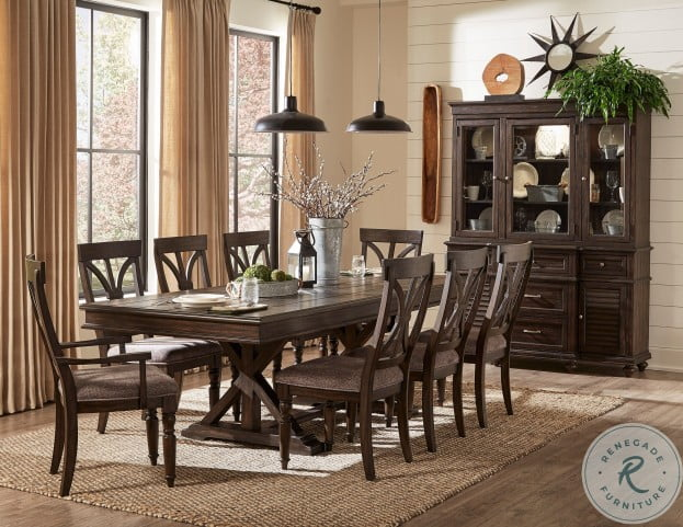 Cardano Driftwood Charcoal Trestle Extendable Dining Room Set