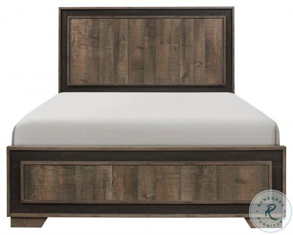 Ellendale Rustic Mahogany And Dark Ebony Queen Panel Bed