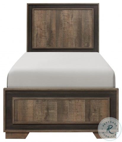 Ellendale Rustic Mahogany And Dark Ebony Twin Panel Bed