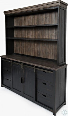 Madison County Vintage Black Server With Hutch