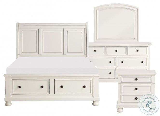 Laurelin White Cal. King Sleigh Storage Bed