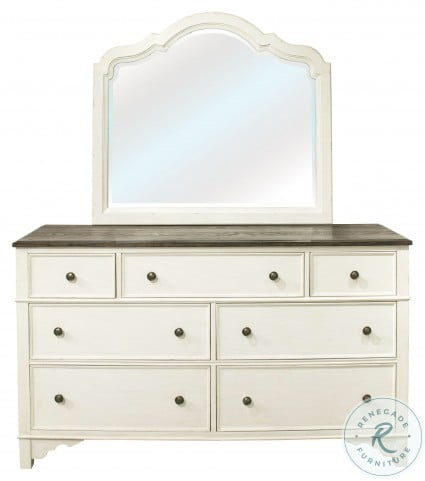 Grand Haven Feathered White And Rich Charcoal 7 Drawer Dresser