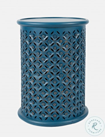 Decker Blue Drum Table