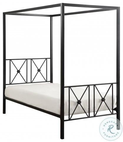 Rapa Black Metal Twin Metal Canopy Bed