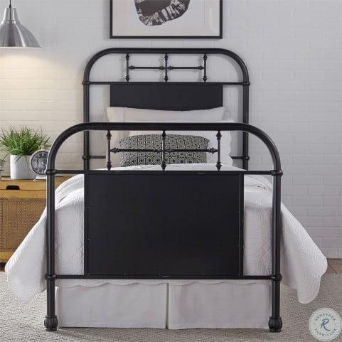 Vintage Distressed Black Twin Metal Bed