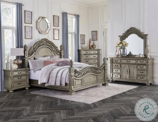 Catalonia Platinum Gold Poster Bedroom Set
