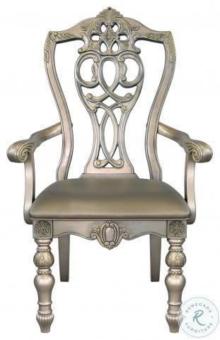 Catalonia Platinum Gold Arm Chair Set Of 2