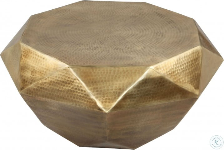 Olivia Hammered Gold Geometric Cocktail Table