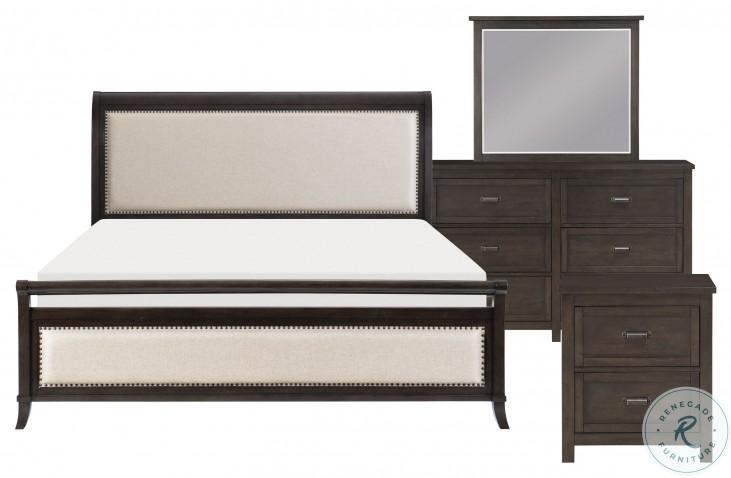Hebron Dark Cherry Upholstered Queen Sleigh Bed