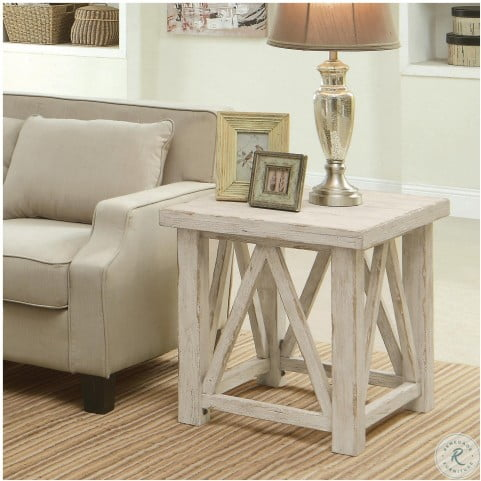 Aberdeen Weathered Worn White End Table