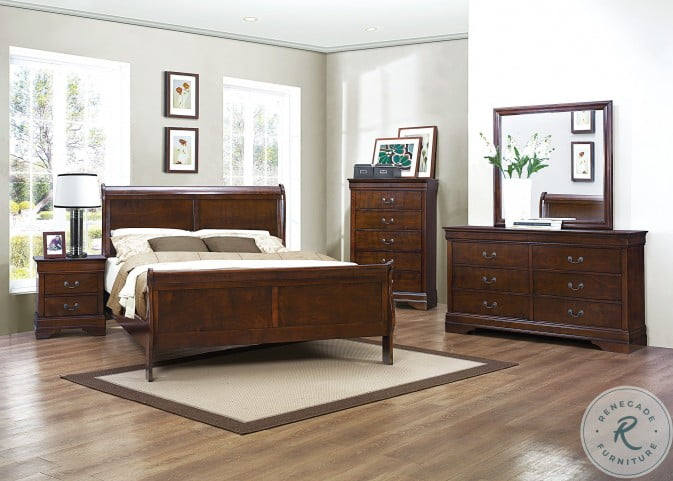 Mayville Brown Cherry Sleigh Bedroom Set