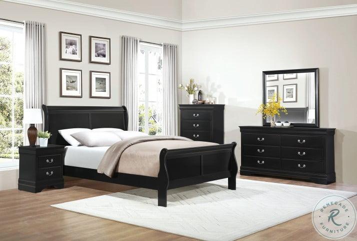 Mayville Black Sleigh Bedroom Set