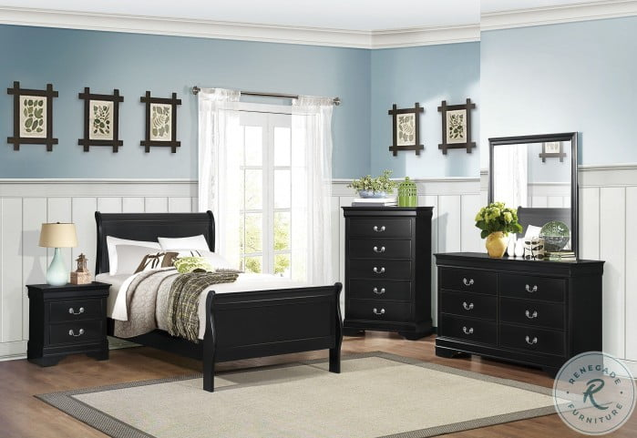 Mayville Black Youth Sleigh Bedroom Set