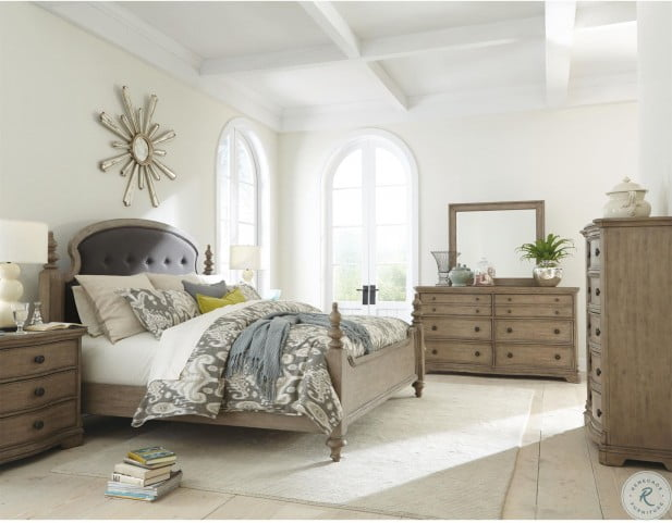 Corinne Sun Drenched Acacia Queen Upholstered Poster Bed
