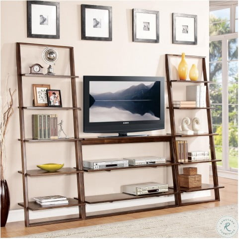 Lean Living Burnished Brownstone Leaning Bookcase