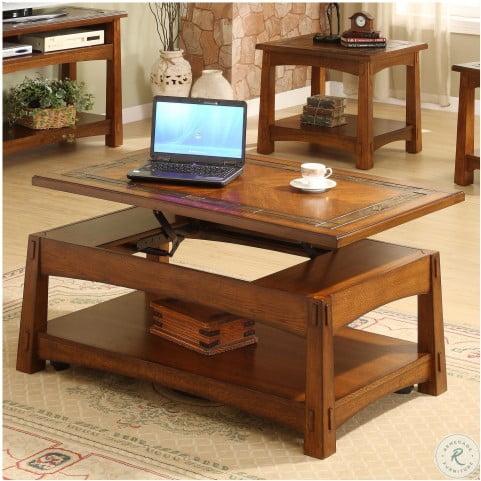 Craftsman Home Americana Oak Lift Top Occasional Table Set